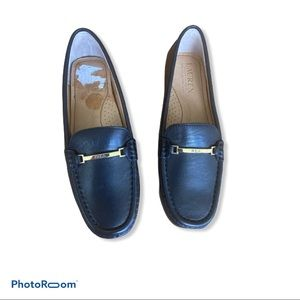 Sz 6 Leather Ralph Lauren Black Loafers